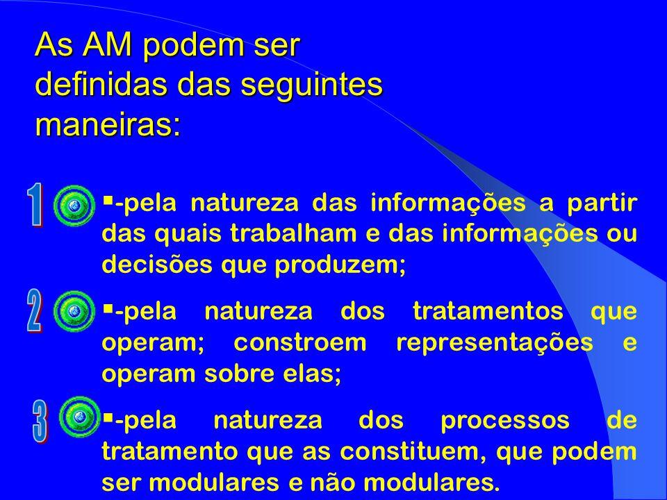 As AM podem ser definidas das seguintes maneiras: -pela natureza das informações a partir das quais trabalham e das informações ou decisões que produz