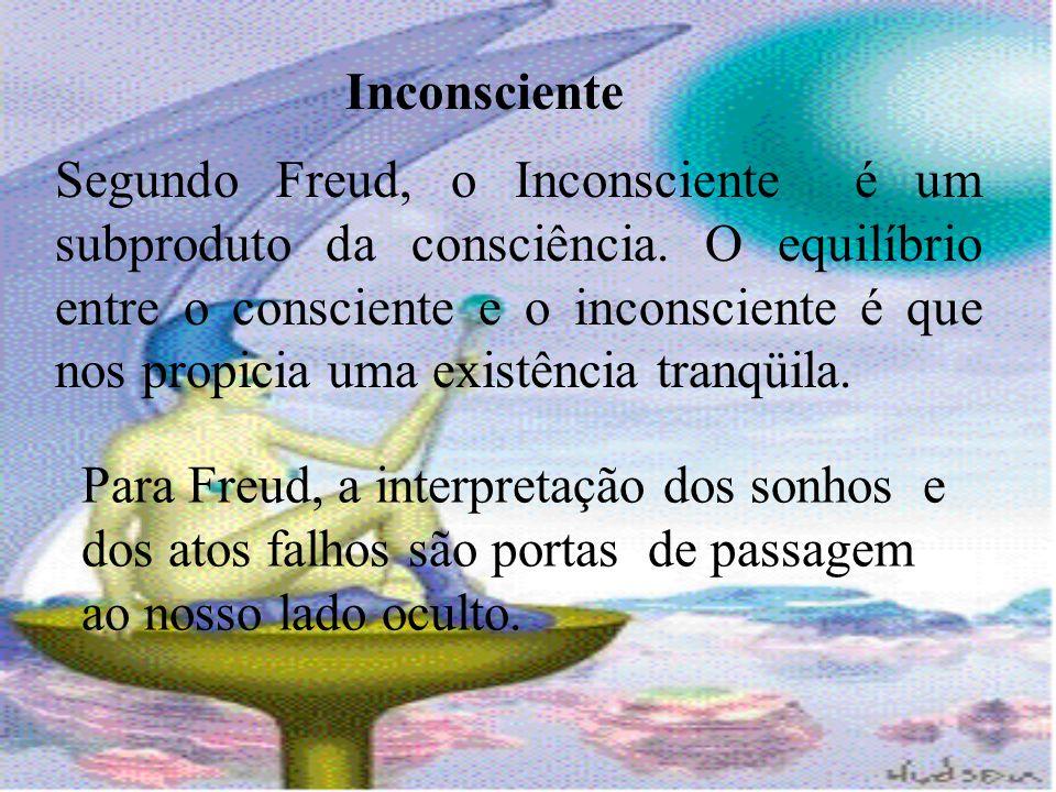 Inconsciente Segundo Freud, o Inconsciente é um subproduto da consciência. O equilíbrio entre o consciente e o inconsciente é que nos propicia uma exi