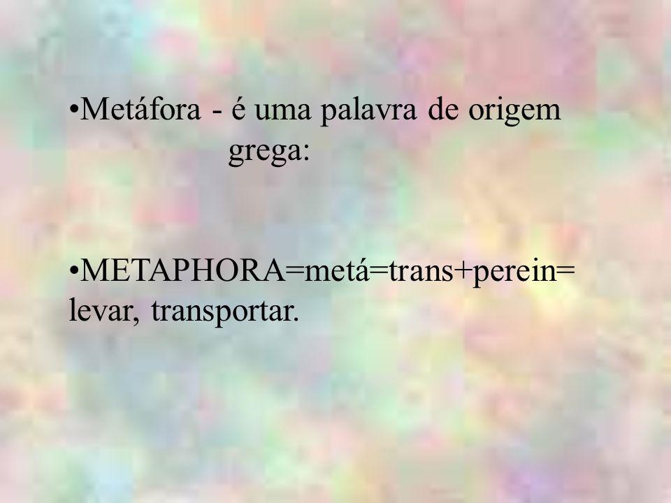 Metáfora - é uma palavra de origem grega: METAPHORA=metá=trans+perein= levar, transportar.