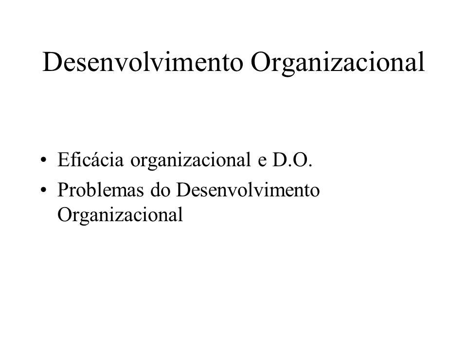 Desenvolvimento Organizacional Eficácia organizacional e D.O. Problemas do Desenvolvimento Organizacional