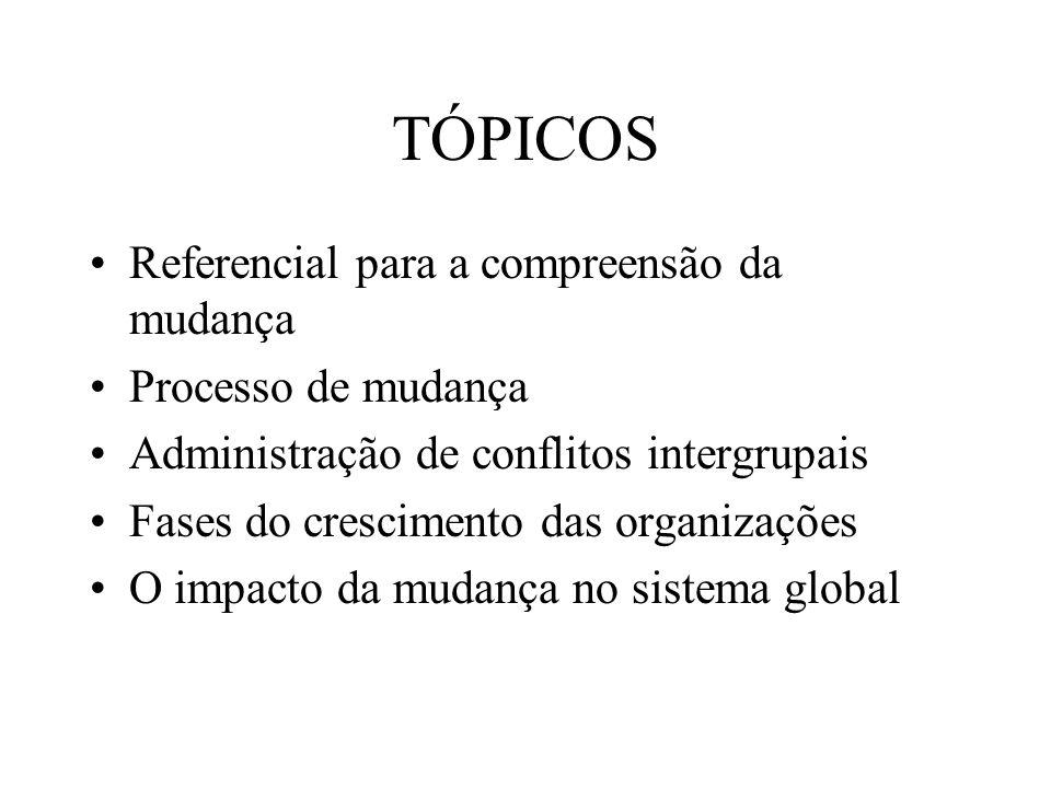 TÓPICOS Referencial para a compreensão da mudança Processo de mudança Administração de conflitos intergrupais Fases do crescimento das organizações O