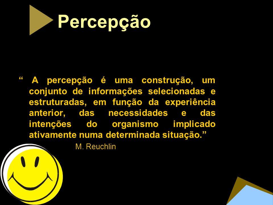 Percep ç ão A percepção é uma construção, um conjunto de informações selecionadas e estruturadas, em função da experiência anterior, das necessidades