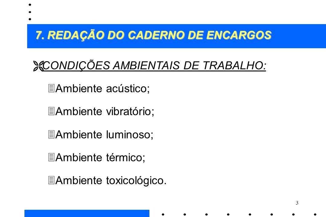 3 Ë CONDIÇÕES AMBIENTAIS DE TRABALHO: 3Ambiente acústico; 3Ambiente vibratório; 3Ambiente luminoso; 3Ambiente térmico; 3Ambiente toxicológico. 7. REDA