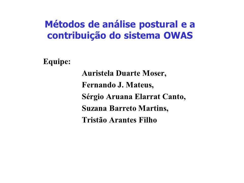 Métodos de análise postural e a contribuição do sistema OWAS Equipe: Auristela Duarte Moser, Fernando J. Mateus, Sérgio Aruana Elarrat Canto, Suzana B