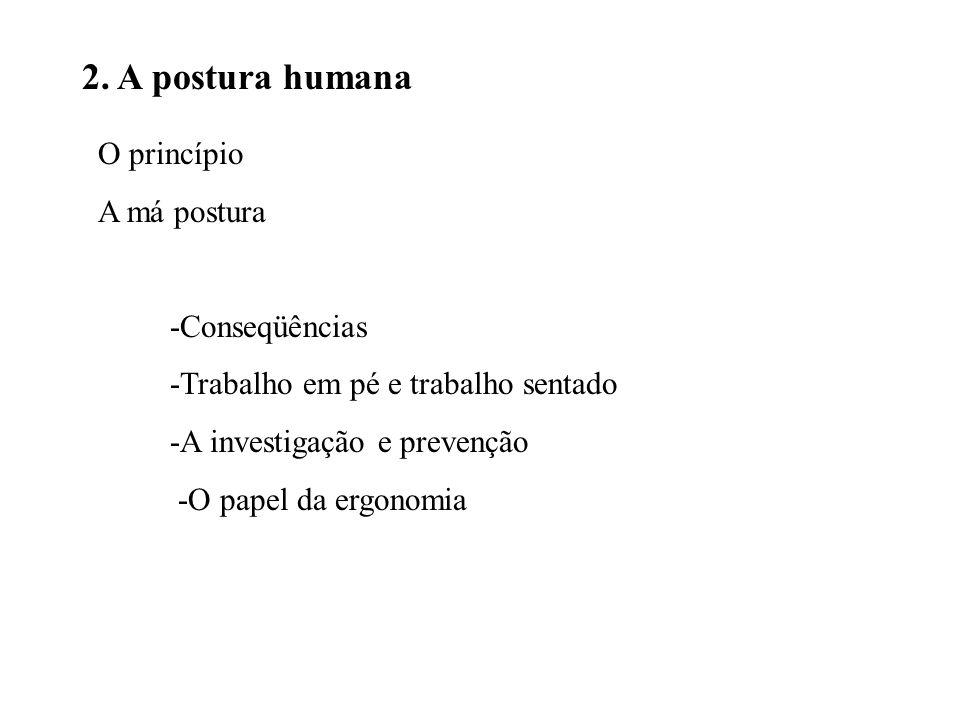 2. A postura humana O princípio A má postura -Conseqüências -Trabalho em pé e trabalho sentado -A investigação e prevenção -O papel da ergonomia