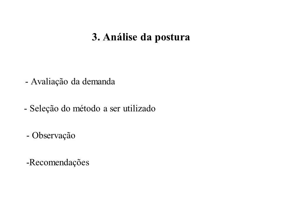 3. Análise da postura - Avaliação da demanda - Seleção do método a ser utilizado - Observação -Recomendações