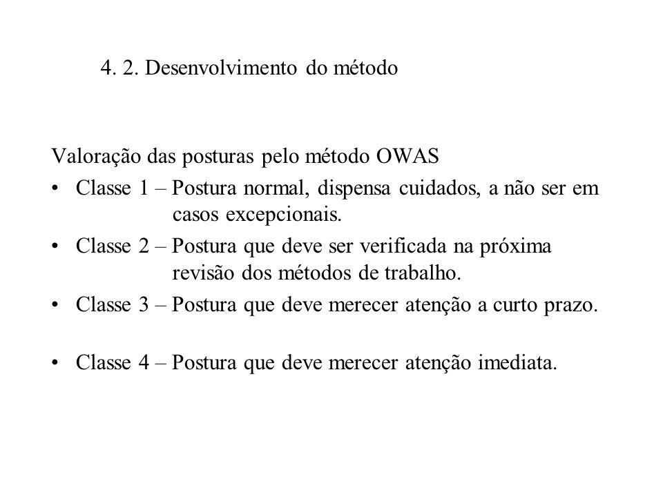 Valoração das posturas pelo método OWAS Classe 1 – Postura normal, dispensa cuidados, a não ser em casos excepcionais. Classe 2 – Postura que deve ser