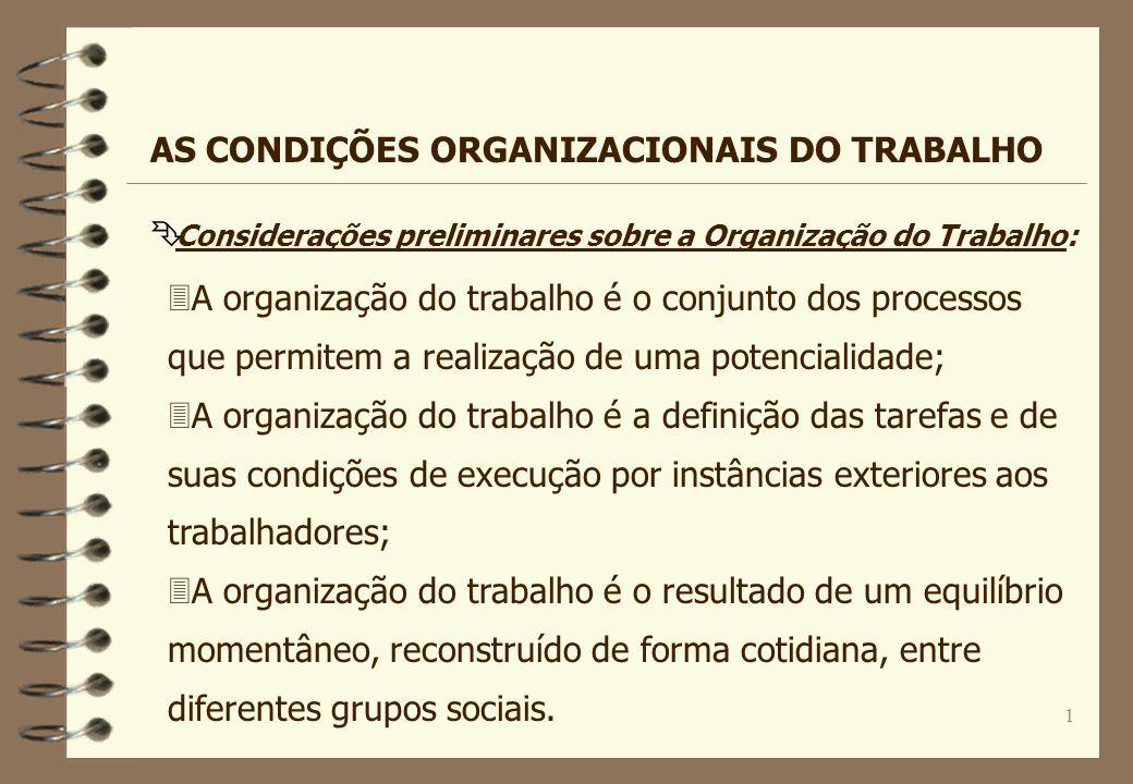 1 Ê Considerações preliminares sobre a Organização do Trabalho: AS CONDIÇÕES ORGANIZACIONAIS DO TRABALHO 3A organização do trabalho é o conjunto dos p