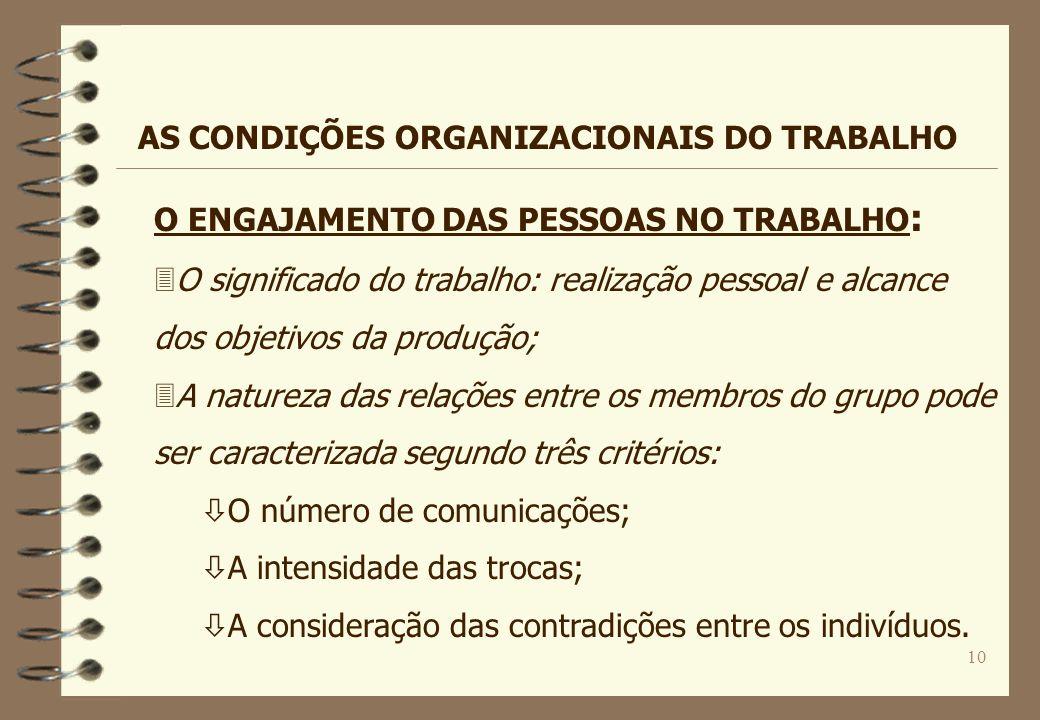 10 O ENGAJAMENTO DAS PESSOAS NO TRABALHO : 3O significado do trabalho: realização pessoal e alcance dos objetivos da produção; 3A natureza das relaçõe
