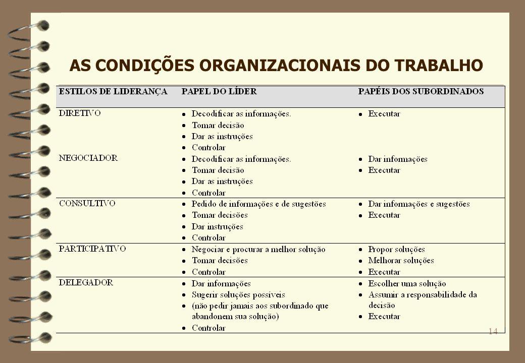 14 AS CONDIÇÕES ORGANIZACIONAIS DO TRABALHO