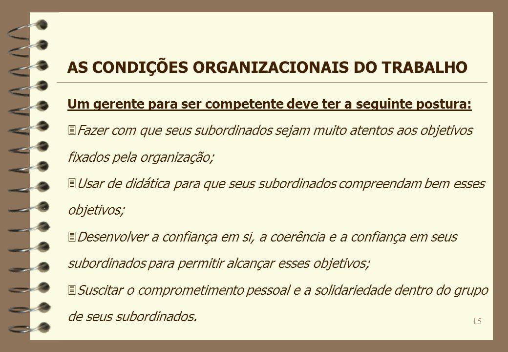 15 Um gerente para ser competente deve ter a seguinte postura: 3Fazer com que seus subordinados sejam muito atentos aos objetivos fixados pela organiz