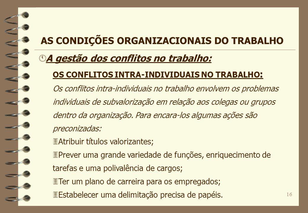 16 Á A gestão dos conflitos no trabalho: OS CONFLITOS INTRA-INDIVIDUAIS NO TRABALHO : Os conflitos intra-individuais no trabalho envolvem os problemas