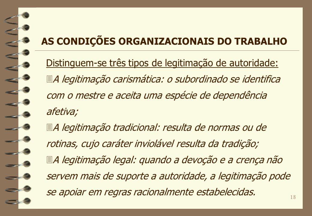 18 Distinguem-se três tipos de legitimação de autoridade: 3A legitimação carismática: o subordinado se identifica com o mestre e aceita uma espécie de