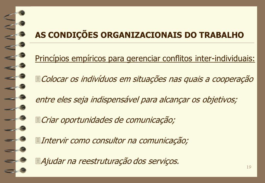 19 Princípios empíricos para gerenciar conflitos inter-individuais: 3Colocar os indivíduos em situações nas quais a cooperação entre eles seja indispe