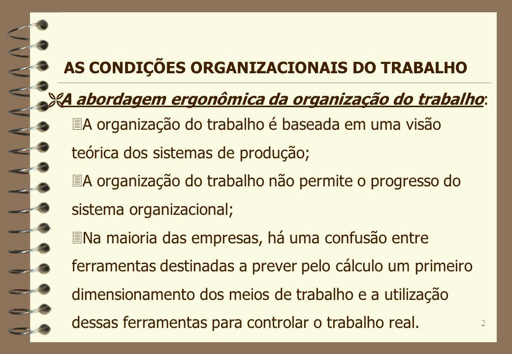 2 3A organização do trabalho é baseada em uma visão teórica dos sistemas de produção; 3A organização do trabalho não permite o progresso do sistema or