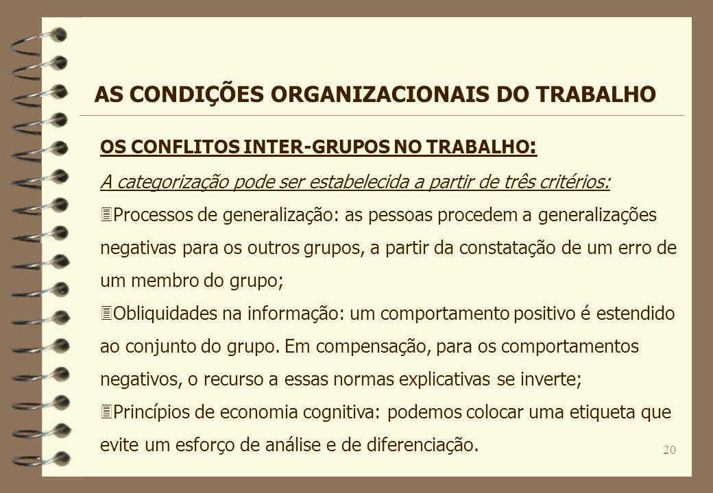 20 OS CONFLITOS INTER-GRUPOS NO TRABALHO : A categorização pode ser estabelecida a partir de três critérios: 3Processos de generalização: as pessoas p