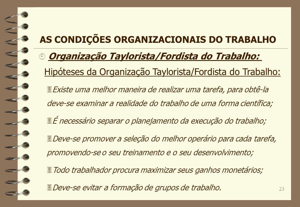 23 Hipóteses da Organização Taylorista/Fordista do Trabalho: 3Existe uma melhor maneira de realizar uma tarefa, para obtê-la deve-se examinar a realid