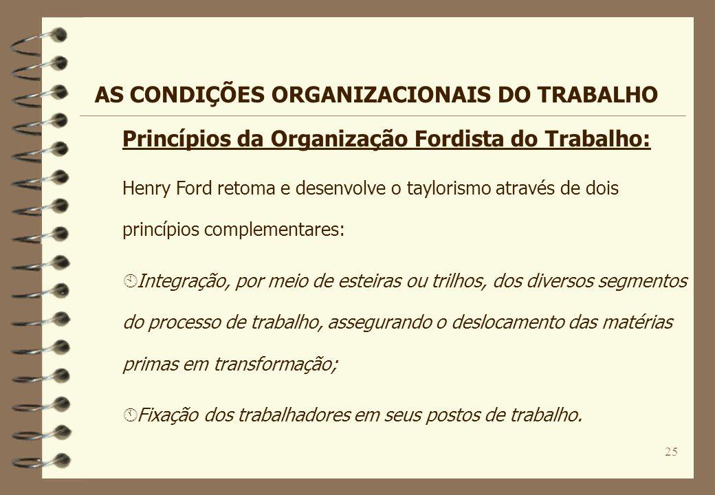 25 Henry Ford retoma e desenvolve o taylorismo através de dois princípios complementares: À Integração, por meio de esteiras ou trilhos, dos diversos