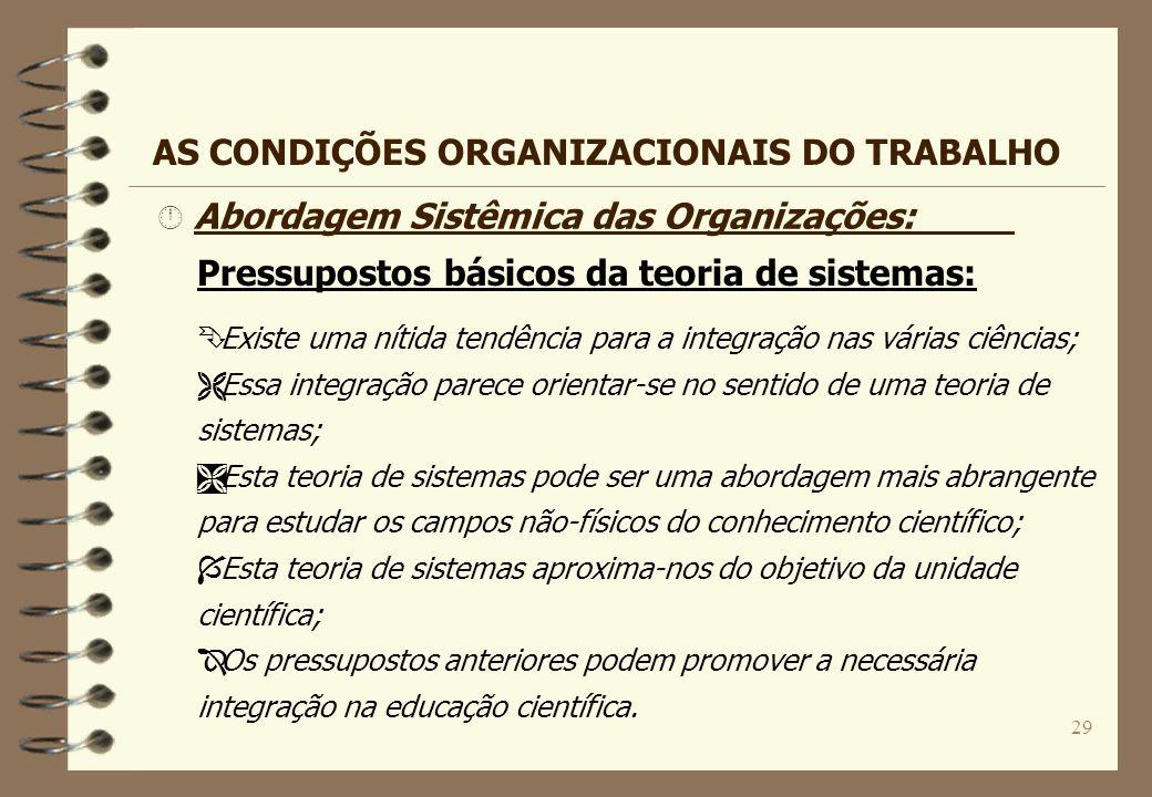 29 Â Abordagem Sistêmica das Organizações: Pressupostos básicos da teoria de sistemas: Ê Existe uma nítida tendência para a integração nas várias ciên