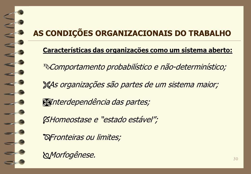 30 Características das organizações como um sistema aberto: Ê Comportamento probabilístico e não-determinístico; Ë As organizações são partes de um si