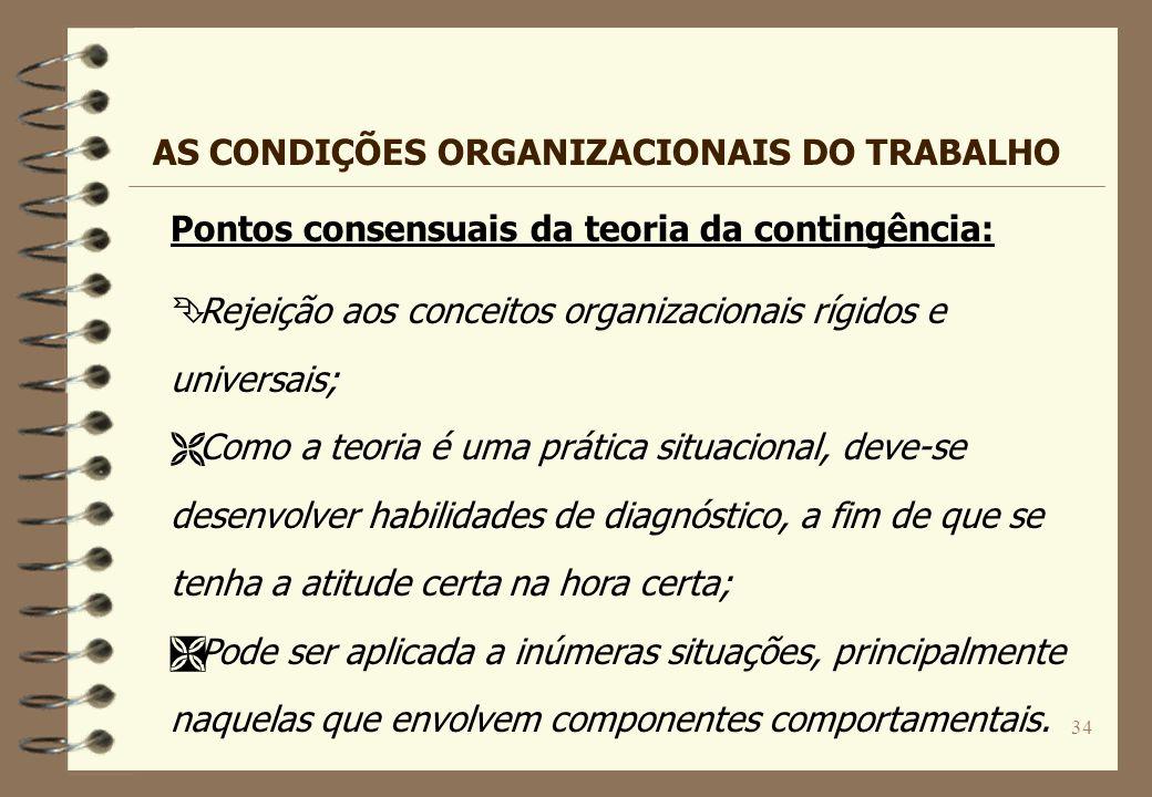 34 Pontos consensuais da teoria da contingência: Ê Rejeição aos conceitos organizacionais rígidos e universais; Ë Como a teoria é uma prática situacio