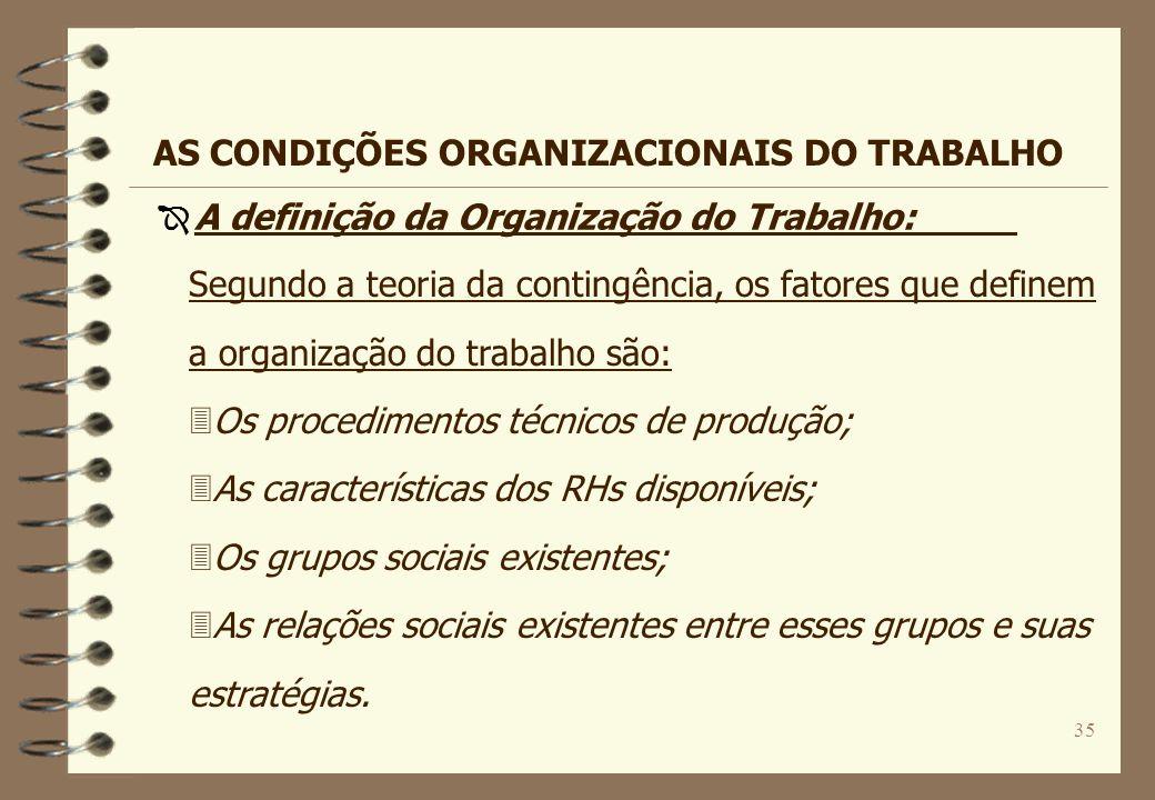 35 Segundo a teoria da contingência, os fatores que definem a organização do trabalho são: 3Os procedimentos técnicos de produção; 3As características