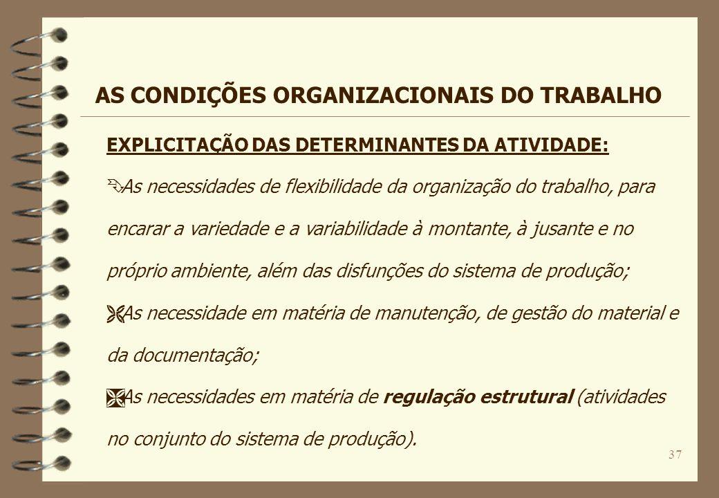 37 EXPLICITAÇÃO DAS DETERMINANTES DA ATIVIDADE: Ê As necessidades de flexibilidade da organização do trabalho, para encarar a variedade e a variabilid