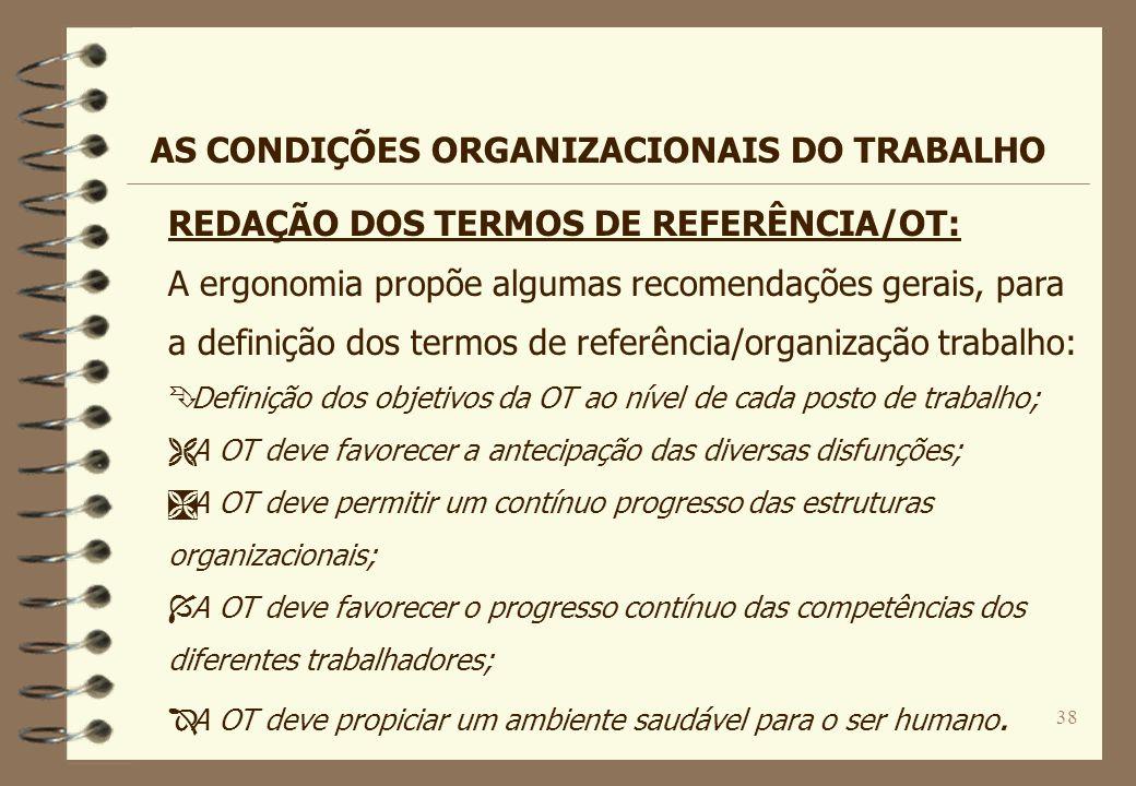 38 REDAÇÃO DOS TERMOS DE REFERÊNCIA/OT: A ergonomia propõe algumas recomendações gerais, para a definição dos termos de referência/organização trabalh