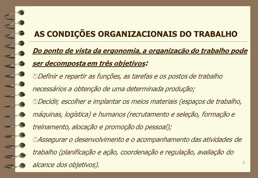 4 Do ponto de vista da ergonomia, a organização do trabalho pode ser decomposta em três objetivos : À Definir e repartir as funções, as tarefas e os p
