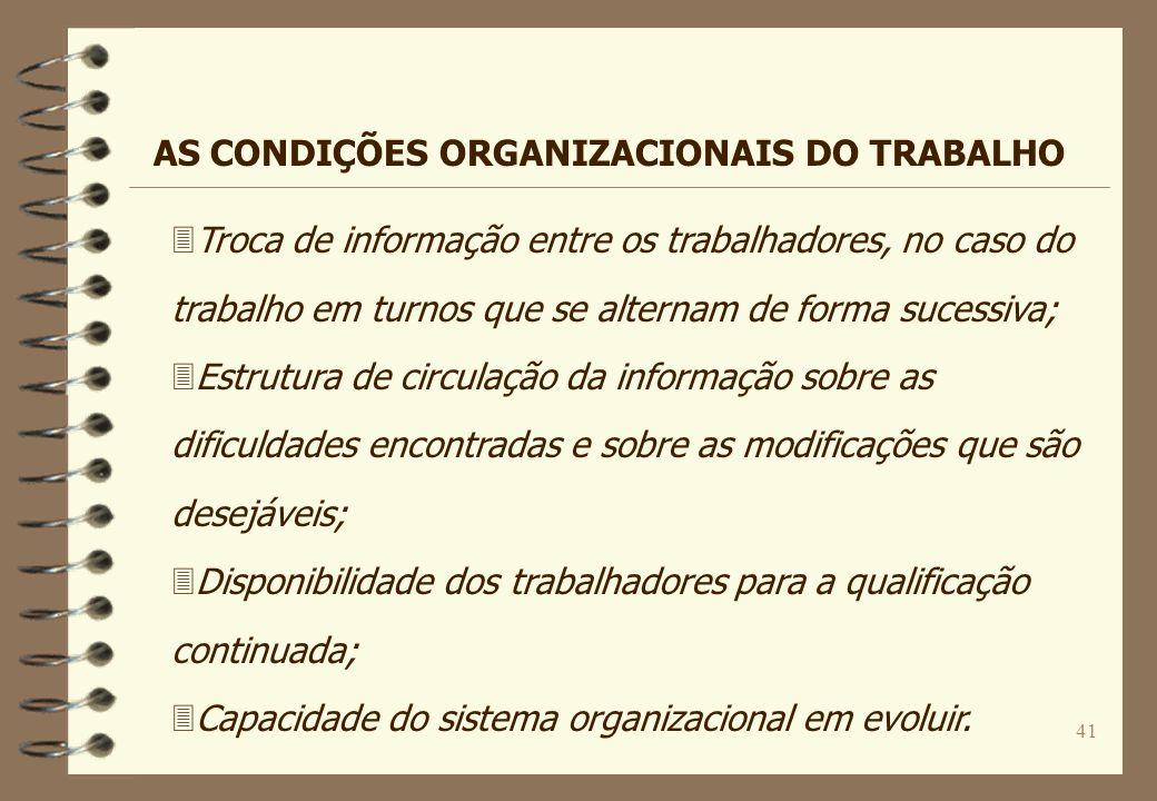 41 3Troca de informação entre os trabalhadores, no caso do trabalho em turnos que se alternam de forma sucessiva; 3Estrutura de circulação da informaç