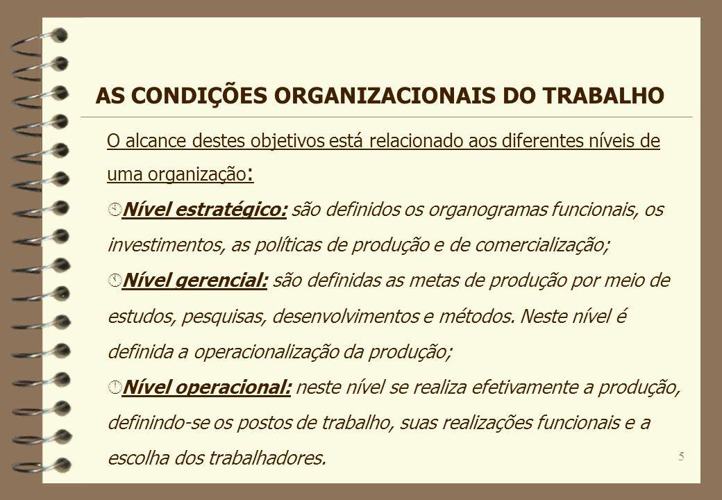 5 O alcance destes objetivos está relacionado aos diferentes níveis de uma organização : À Nível estratégico: são definidos os organogramas funcionais