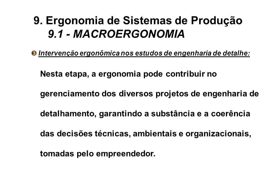 Ì Intervenção ergonômica nos estudos de engenharia de detalhe: Nesta etapa, a ergonomia pode contribuir no gerenciamento dos diversos projetos de engenharia de detalhamento, garantindo a substância e a coerência das decisões técnicas, ambientais e organizacionais, tomadas pelo empreendedor.