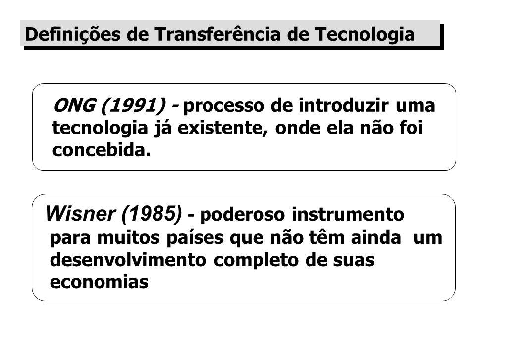 ONG (1991) - processo de introduzir uma tecnologia já existente, onde ela não foi concebida.