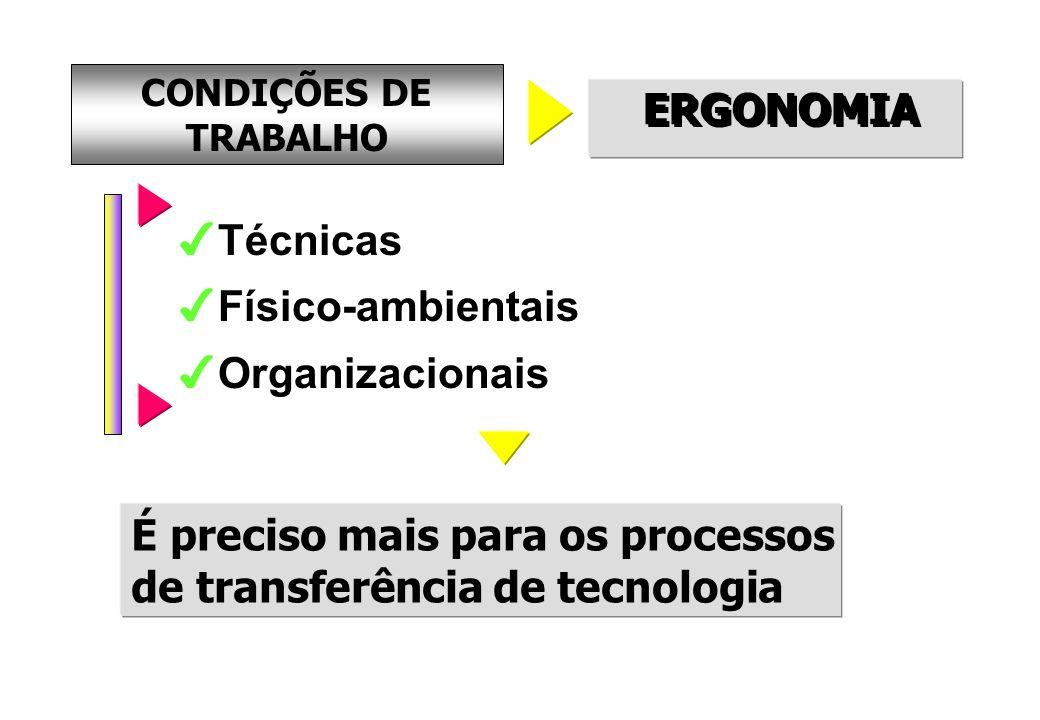 CONDIÇÕES DE TRABALHO ERGONOMIA Técnicas Físico-ambientais Organizacionais É preciso mais para os processos de transferência de tecnologia