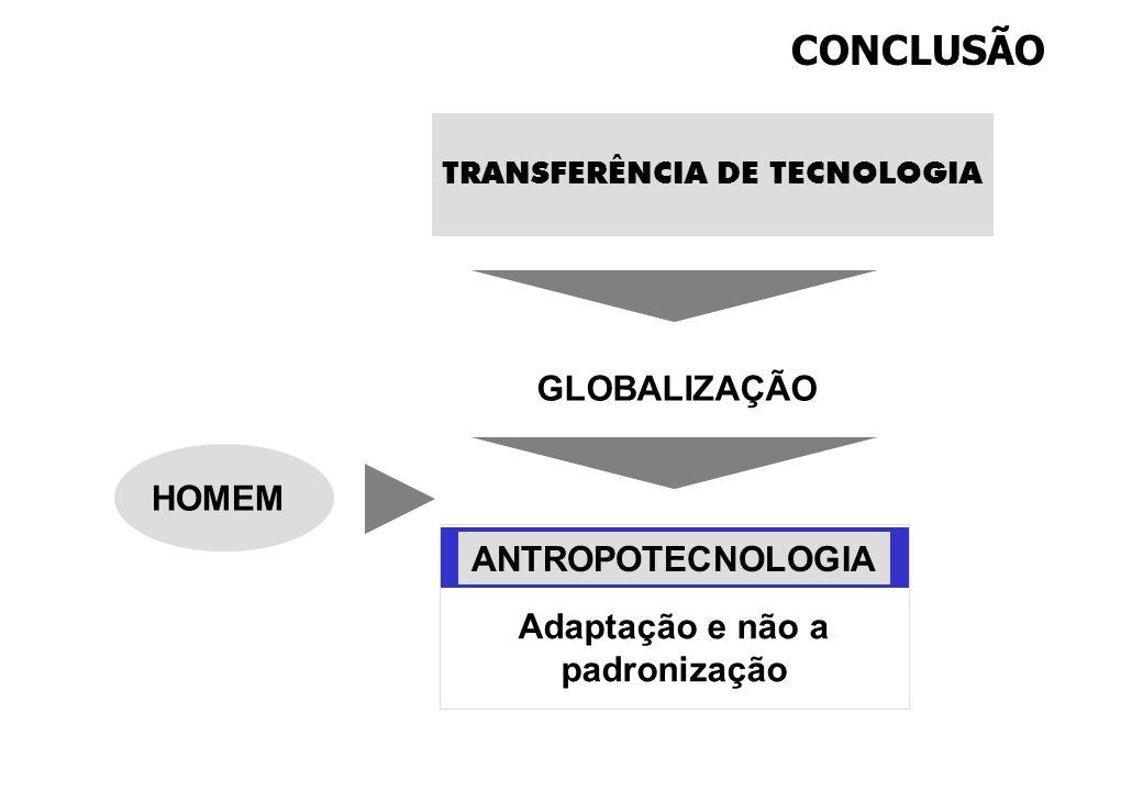 GLOBALIZAÇÃO CONCLUSÃO TRANSFERÊNCIA DE TECNOLOGIA Adaptação e não a padronização ANTROPOTECNOLOGIA HOMEM