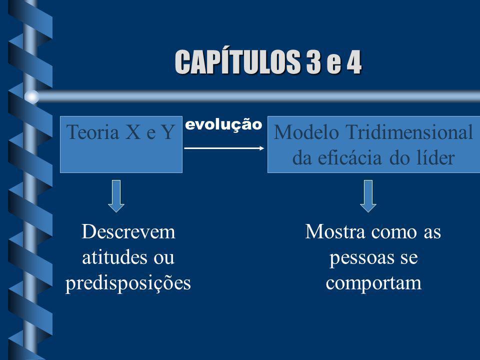 CAPÍTULOS 3 e 4 Teoria X e Y evolução Modelo Tridimensional da eficácia do líder Descrevem atitudes ou predisposições Mostra como as pessoas se compor