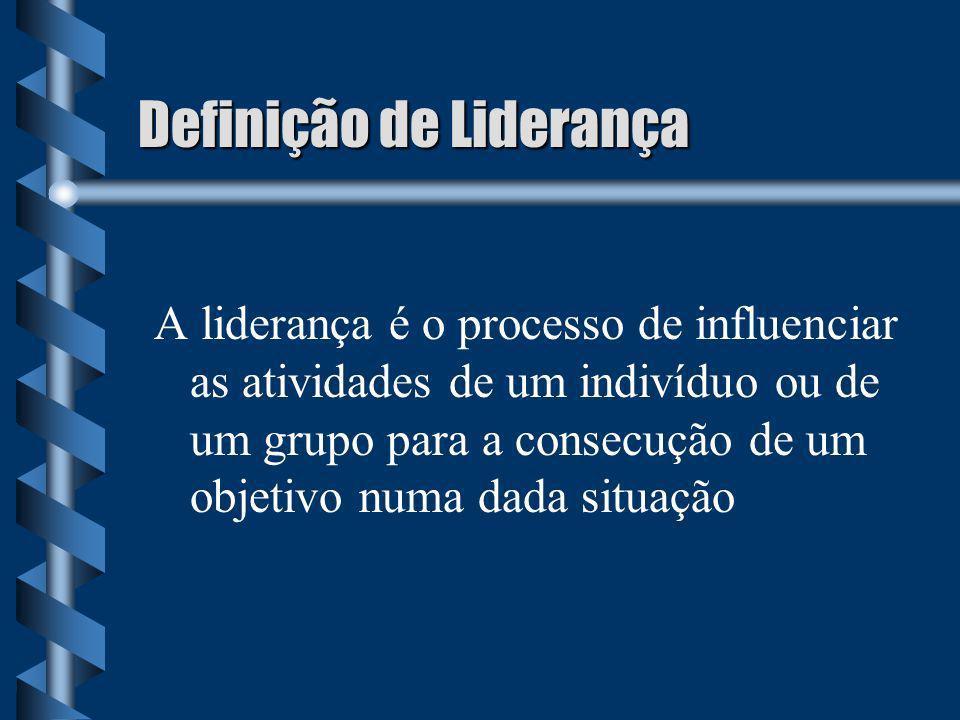 Definição de Liderança A liderança é o processo de influenciar as atividades de um indivíduo ou de um grupo para a consecução de um objetivo numa dada