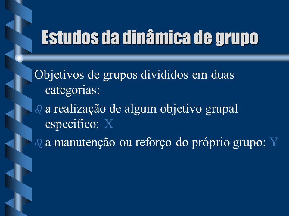 Estudos da dinâmica de grupo Objetivos de grupos divididos em duas categorias: b b a realização de algum objetivo grupal especifico: X b b a manutençã