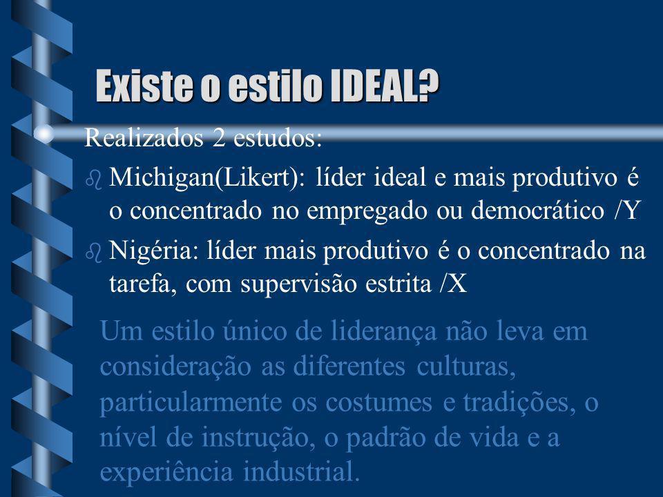Existe o estilo IDEAL? Realizados 2 estudos: b b Michigan(Likert): líder ideal e mais produtivo é o concentrado no empregado ou democrático /Y b b Nig