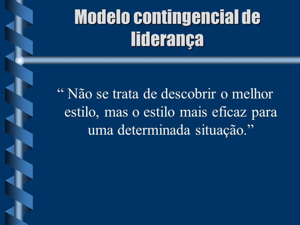 Modelo contingencial de liderança Não se trata de descobrir o melhor estilo, mas o estilo mais eficaz para uma determinada situação.