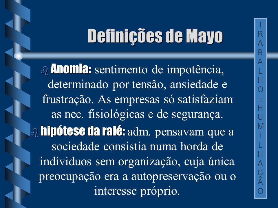 Definições de Mayo Anomia: Anomia: sentimento de impotência, determinado por tensão, ansiedade e frustração. As empresas só satisfaziam as nec. fisiol