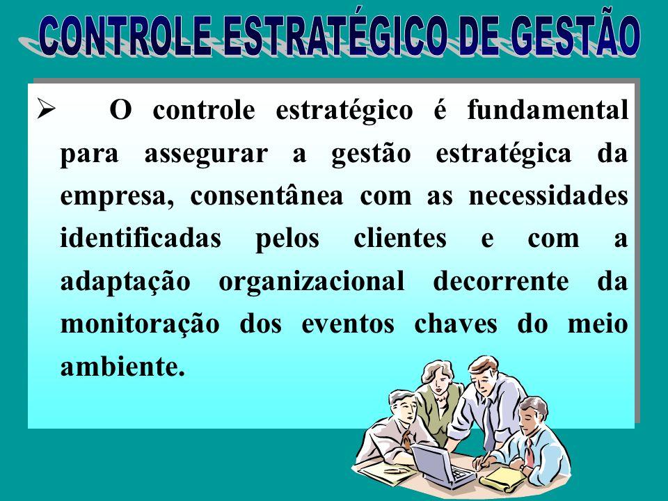 Controle estratégico é um tipo especial de controle organizacional que se concentra na monitoração e avaliação do processo de gestão estratégica para