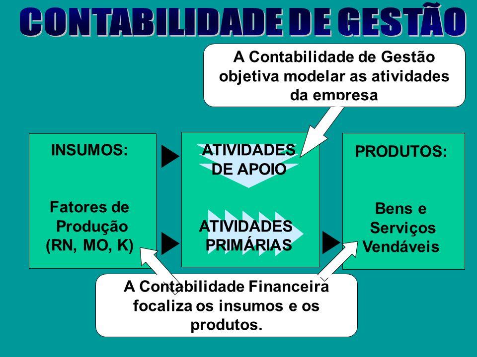 ATIVIDADES DE APOIO ATIVIDADES PRIMÁRIAS INSUMOS: Fatores de Produção (RN, MO, K) PRODUTOS: Bens e Serviços Vendáveis A Organização da Empresa compree