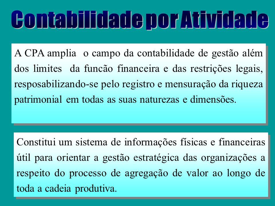 É uma contabilidade analítica dos processos produtivos e de negócios. Ao mensurar o valor na sua forma monetária, a CPA, além de proceder ao custeio p