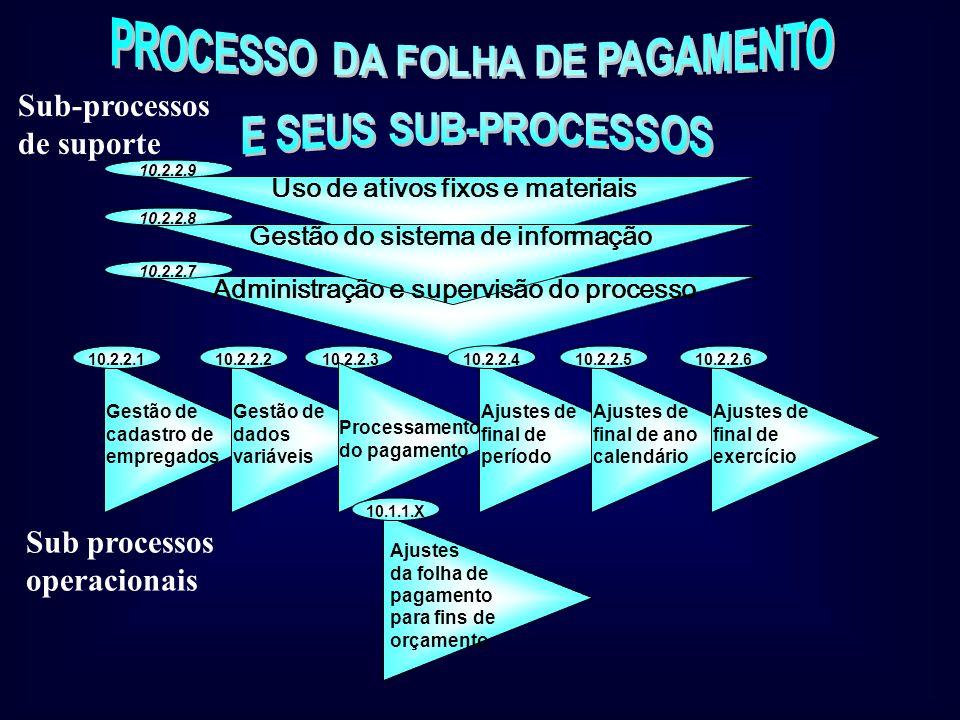 Subníveis do Processo Contábil-financeiro 10.2.1- Processo de contas a pagar 10.2.2- Gestão da folha de pagamento 10.2.3- Processo de contas a receber