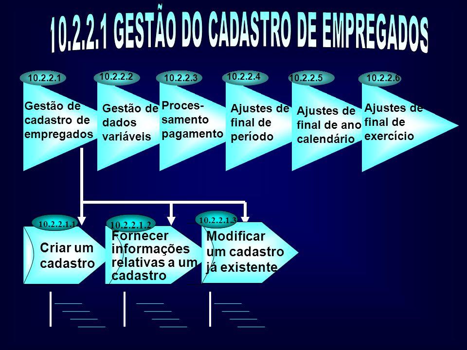 Sub-processos de suporte Uso de ativos fixos e materiais 10.2.2.9 Gestão do sistema de informação 10.2.2.8 Administração e supervisão do processo 10.2