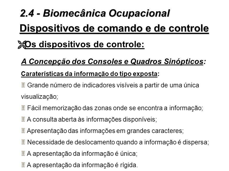 Dispositivos de comando e de controle Ë Ë Os dispositivos de controle: 2.4 - Biomecânica Ocupacional 3Centralização X descentralização da apresentação