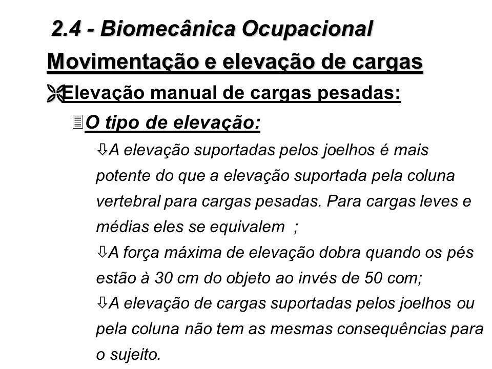 Dispositivos de comando e de controle Figura 2.16 - Explicação do tipo de esforço, segundo sua natureza 2.4 - Biomecânica Ocupacional
