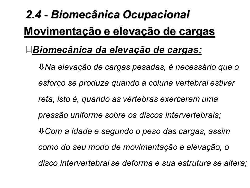 Movimentação e elevação de cargas 3Biomecânica da elevação de cargas: ò ò Na elevação de cargas pesadas, é necessário que o esforço se produza quando a coluna vertebral estiver reta, isto é, quando as vértebras exercerem uma pressão uniforme sobre os discos intervertebrais; ò Com a idade e segundo o peso das cargas, assim como do seu modo de movimentação e elevação, o disco intervertebral se deforma e sua estrutura se altera; 2.4 - Biomecânica Ocupacional