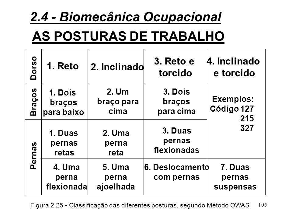 104 AS POSTURAS DE TRABALHO 12345 0 0,1 5 0,2 10 0,3 15 0,4 20 0,5 25 Kcal/min puls/min Figura 2.24 - Custo fisiológico de diferentes posturas 2.4 - Biomecânica Ocupacional